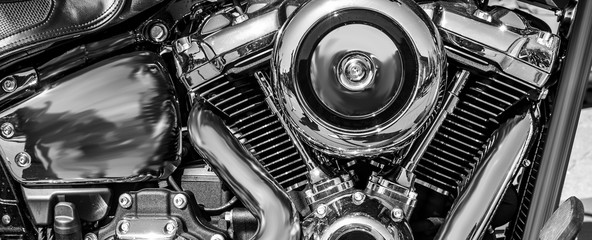 panorama of a shiny motorcycle engine