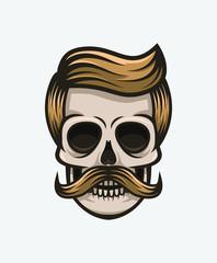 Mustache skull. Hipster.
