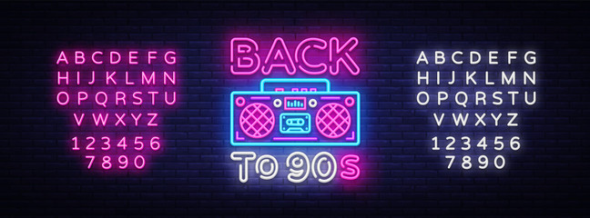 Back to 90s neon poster, card or invitation, design template. Retro tape recorder neon sign, light banner. Back to the 90s. Vector illustration in trendy 80s-90s neon style. Editing text neon sign Fototapete