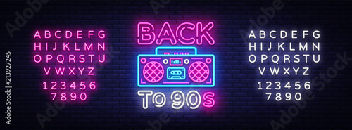 Back to 90s neon poster card or invitation design template retro back to 90s neon poster card or invitation design template retro tape recorder stopboris Choice Image
