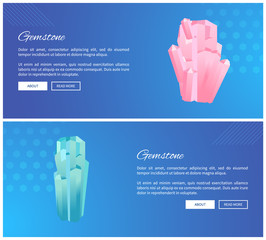 Gemstones Web Posters Set Minerals and Crystals
