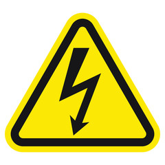 High voltage sign with lightning