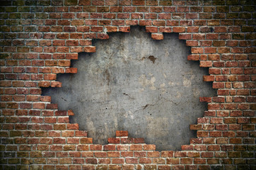 Old red brick wall damaged background Wall mural