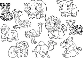 African animals, set of cute vector images, coloring book