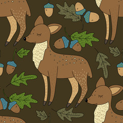 Seamless vector forest pattern with cute color illustrations. Lovely forest roe deer in an oak forest.