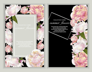 Vector banners set with peonies on black.Template for greeting cards, wedding decorations, invitation ,sales. Spring or summer design. Place for text.