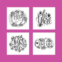 Social media lettering set. Vector illustration.