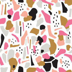 Terrazzo seamless pattern. Vector abstract background with chaotic stains. Collage design in gold and magenta colors.