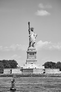 Black and white picture of the Statue of Liberty, New York, USA.