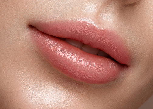 Natural lips close up. Photo shot in the studio