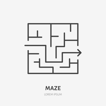 Maze line icon, labyrinth flat logo. Business solution vector illustration. Exit sign, strategy concept.
