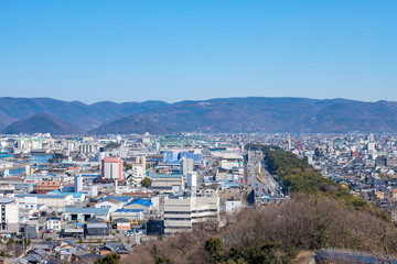 Cityscape of Sakaide city and highway,Kagawa,Shikoku,Japan