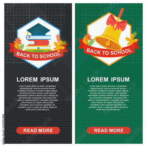 Back to school banner template  School bell and square academic cap