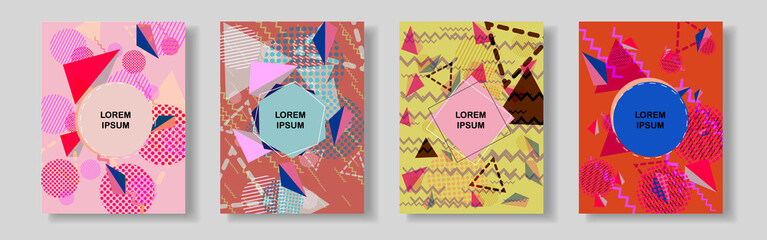 Abstract geometric line background for brochure cover design.