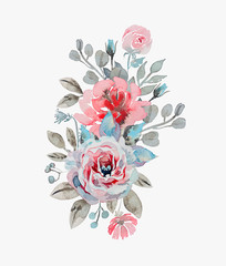 handmade watercolor bouquet of flowers - rose, chamomile and pop