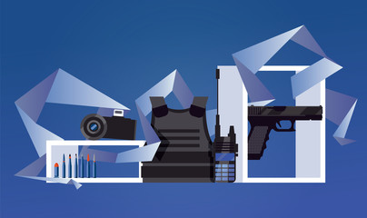 Vector scene with military object like flak jacket, night-vision device, portable radio, pistol and bullets on blue background. Geometric graphic as decoration. Set good for army expo or forces banner