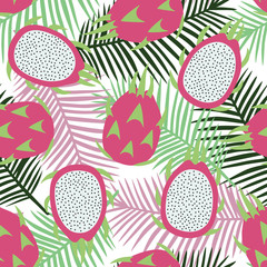 sweet whole dragon fruit and cut dragon fruit tropical exotic pink with seeds pitaya on pink light green and dark green palm leaves background summer seamless pattern vector
