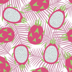 sweet whole dragon fruit and cut dragon fruit tropical exotic fruit pink with seeds pitaya on pink palm leaves background summer seamless pattern vector