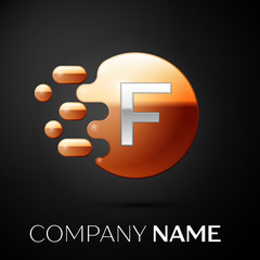 Silver Letter F logo. Gold dots splash and abstract liquid bubble shape on black background. Vector template for your design