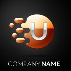 Silver Letter U logo. Gold dots splash and abstract liquid bubble shape on black background. Vector template for your design