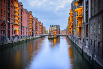 Elbe channel in the district of old granaries in Hamburg.