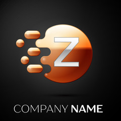 Silver Letter Z logo. Gold dots splash and abstract liquid bubble shape on black background. Vector template for your design