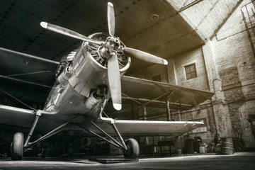 historical aircraft in a hangar