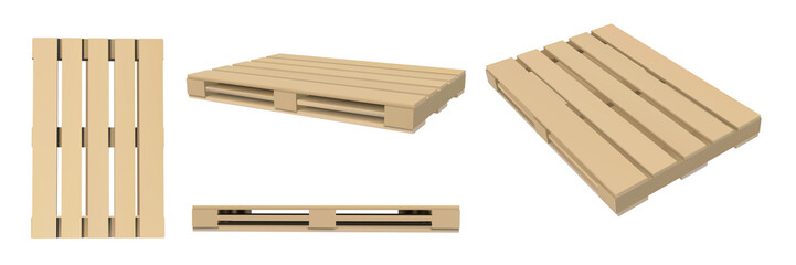 3D image of pallets. Packaging and transportation of goods. Vector illustration. Storage boxes.