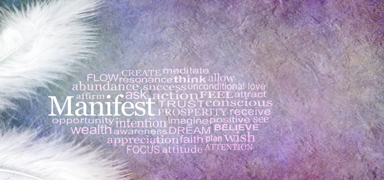 Manifest Abundance Word Cloud - two white feathers and a MANIFEST word cloud against a rustic purple subtle colored stone effect  background with copy space