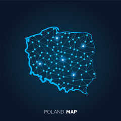 Map of Poland made with connected lines and glowing dots.