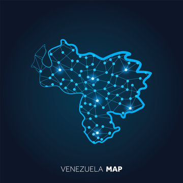 Map of Venezuela made with connected lines and glowing dots.