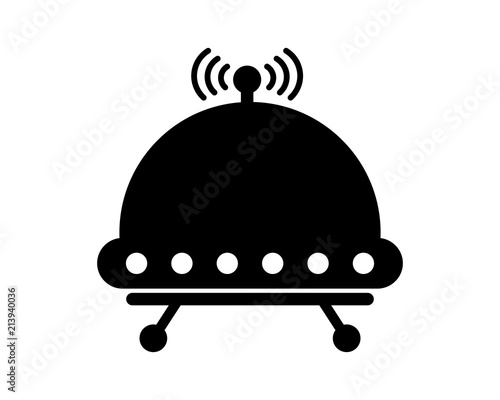 ufo icon silhouette vehicle transportation transport image vector