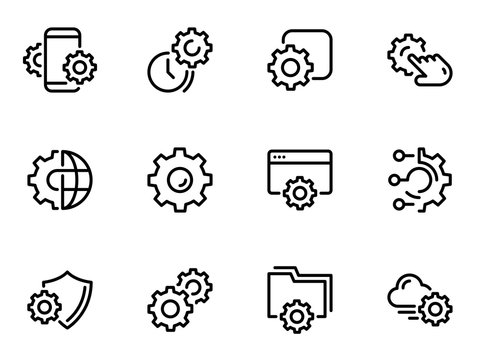 Set of black vector icons, isolated on white background, on theme Setting and technical specifications