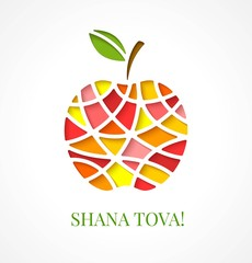 Design template with cut out multicolor apple. Greeting card design for Jewish New Year, Rosh Hashanah. Vector illustration