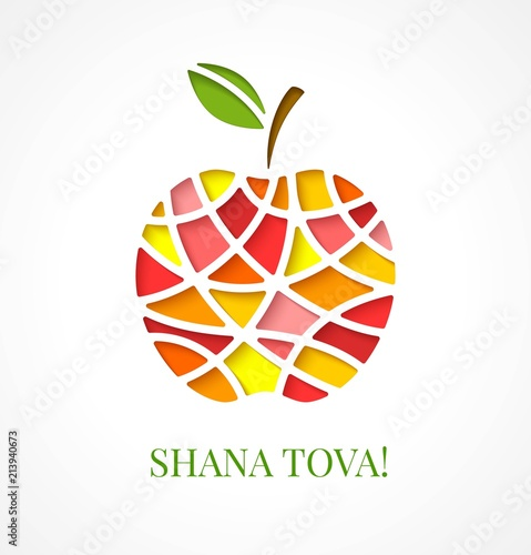 design template with cut out multicolor apple greeting card design for jewish new year