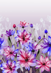 Beautiful pink and purple flowers with green stems and leaves on white background. Seamless floral pattern. Watercolor painting. Hand painted botanical illustration.