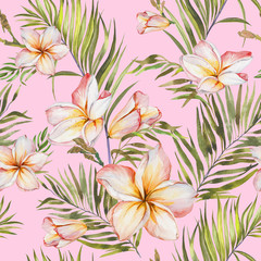 Exotic plumeria flowers and green palm leaves in seamless tropical pattern. Light pink background, pastel shades. Watercolor painting. Hand painted floral illustration.
