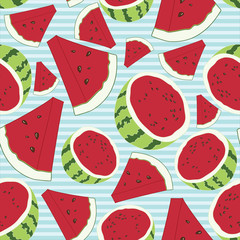 Seamless Watermelon Fruit Vector Pattern