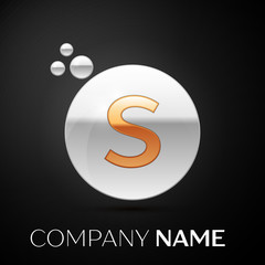 Gold Letter S logo. Silver dots splash and abstract liquid bubble shape on black background. Vector template for your design