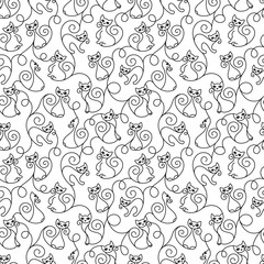 Seamless pattern of cute cartoon cats curls lines. Vector illustration.