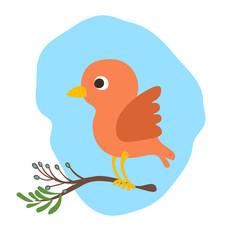 Vector cartoon cute bird illustration wit banch of tree. Baby bird, cartooning style. Red cute bird illustration