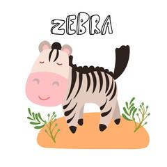 Cute cartoon vector zebra illustration. Cute safari animal - little zebra cartoon illustration with safari grass