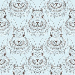 Rabbit sketch seamless pattern. Hand drawn vector illustration.