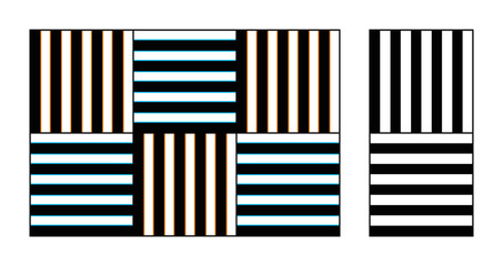 Watercolor optical illusion on gratings. The thin blue and orange lines along the vertical and horizontal gratings appear to spread over the black and white regions. Illustration over white. Vector.