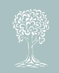 Tree silhouette swirls. Cartoon funny tree. Hand drawn vector illustration.