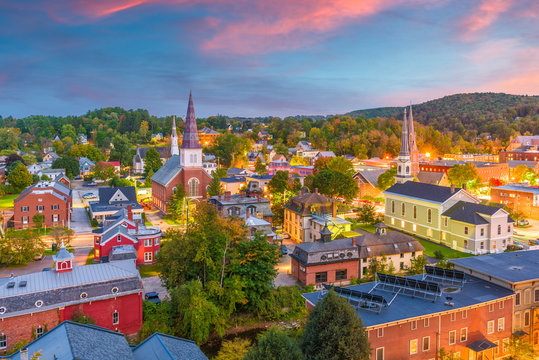 Montpelier, Vermont, USA town skyline at dusk in early autumn.