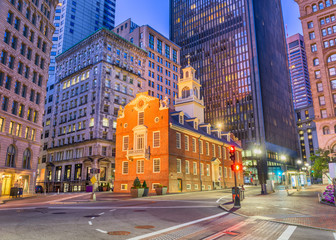 Boston, Massachusetts, USA Old State House at twilight.