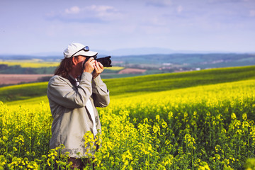 Photographing a landscape at springtime