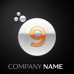 Gold Number Nine logo. Silver dots splash and abstract liquid bubble shape on black background. Vector template for your design
