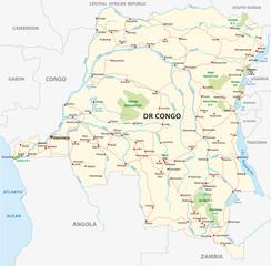 democratic republic of the congo road vector map
